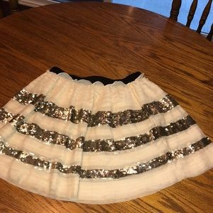 Free People cream tiered layered skirt w/ sequins